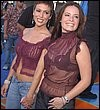 Holly Marie Combs in Burgandy See Thru Top